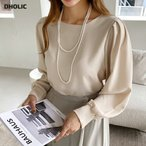 トップス ブラウス 長袖 パフスリーブ パフ袖 単色 無地 シンプル 上品 きれいめ 大人 春 秋 韓国 ファッション