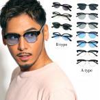 人気 メンズ ブランド 7JEWELRY ブロー サングラス ブルー ブラック レンズ UVカットの画像