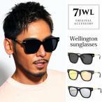 人気 メンズ ブランド 7JEWELRY ウェリントン サングラス ブラック スモーク シルバー イエロー ミラー 紫外線カット UVカット