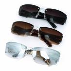 人気 メンズ ブランド 7JEWELRY スクエア サングラス PUレザー フレーム スモーク ブラウン グレー ハーフ レンズ 紫外線カット UVカットの画像