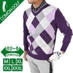SALE ゴルフウェア メンズ セーター Vネック ニット ゴルフトップス ゴルフセーター アーガイル柄 パープル おしゃれ 秋 冬 サンタリート CG-ST129