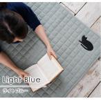 ラグ ラグマット 厚手 おしゃれ 北欧 ネコワッペン キルトラグ 絨毯  185cm 185cm ライトブルー  正方形 洗える 防滑  キャットキルト