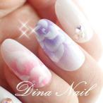 Yahoo!DINAネイルネイルチップ ブライダルピンクパープルエアーアート薔薇 結婚式 ウェディング つけ爪 ブライダル