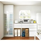 ごみ箱収納スペース付き 下オープンキッチンハイカウンター 幅120cm