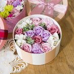 母の日 ギフト プレゼント ソープフラワー 入浴剤 ボックス アレンジメント バラ カーネーション 花 ピンク パープル FP3113