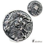 コンチョ ドラゴン 龍 亜鉛合金製 シルバー ネジ式 財布 飾りボタン ジルコニア
