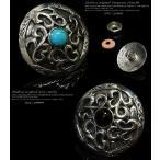 コンチョ ターコイズ オニキス アラベスク ネイティブアメリカン シルバー926 メンズ ネジ 財布 石 ボタン
