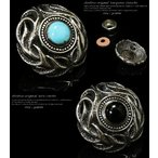 コンチョ オニキス ターコイズ ボタン シルバー925 メンズ ネジ 財布 石