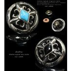 コンチョ ターコイズ オニキス 百合の紋章 ユリ クロス 十字架  シルバー925 ネジ  メンズ ボタン