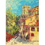 イタリア風景 油絵 絵画 マルコ 作 アヴルッツォの城 インテリア