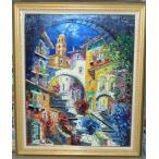 絵画 油絵 マルコ 作 イタリア・ボルセーナ湖 風景画 インテリア
