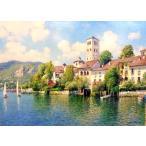 絵画 油絵 ロマノ 作 「オルヴィエートの街」 イタリア風景画 インテリア