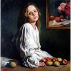 絵画 油絵 ストリーノ  少女  イタリア人物画 インテリア