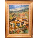 風景画 イタリア油絵 絵画 マルコ 作 「自然と家並」 インテリア