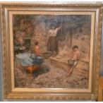 絵画 油絵 セザール 作 「家族」 イタリア人物画 インテリア