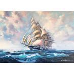 帆船絵画 油絵 レナート 作 イタリア海景画 リビング