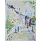 絵画 水彩画 パスカル(フランス) 「パリの市場」 風景画 インテリア