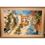 油絵 絵画 マルコ 作 「花のある広場」 風景画 インテリア