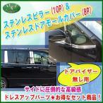 トヨタ ノア ヴォクシー エスクァイア 80系 ドアモールカバー & ステンレスピラー (バイザー無し用) カスタムパーツ カスタマイズ ドレスアップパーツ