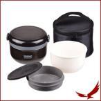弁当箱 420ml 保温 お弁当箱 お弁当 弁当 ランチボックス ランチジャー ランチ 茶碗 約 2 杯分 バッグ付 どんぶり ブラック ほかどん HB-262