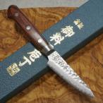 パーリングナイフ 80mm 包丁 V金10号 ダマスカス ステンレス 槌目 マホガニー柄 ミルフィーユ 一心刃物 関市 鮮烈な切れ味永続き