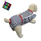 犬服 マナーパンツ サニタリーパンツ  ワンピースタイプ メイド風 ネイビーストライプ(小型犬 中型犬用)犬の服2点購入でメール便送料無料 スーツタイプ 介護