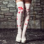 ショッピングニーハイ レディース ちのり costume(コスチューム)血のり柄ホワイトニーハイソックス【ゆうパケット2】