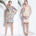 パーティードレス 結婚式 20代 30代 40代 大きいサイズ 二次会 ワンピース ミディアムドレス 花柄刺繍 シースルー袖 プリーツスカート マーメイド