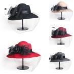 チュールとリボンがついた麦わら帽子 大きいサイズ 帽子 麦わら 帽子  UV対策 紫外線対策 日焼け対策