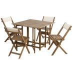 収納式 ダイニングテーブル&チェア 〔5点セット 室内・屋外兼用〕 テーブル:幅90cm アカシア 『クリコ』 〔テラス 庭〕