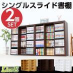 スライド式本棚 コミック収納 書棚 本棚 収納家具 2個セット (約:幅90cm×高さ92cm×奥行29cm)