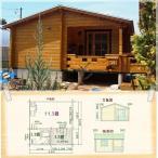 小型別荘・仮設住宅に。デッキに突き出た小部屋が魅力です。セルフビルドミニログハウスキット《網戸付き》【BL-M5UT/価格1,495,800円】