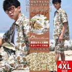 セットアップ メンズ 上下セット 半袖 カジュアルシャツ ハーフパンツ 綿麻 ボタニカル 花柄 カジュアル ストリート系 夏 サマー