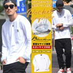 b.LA.ck ブラック Tシャツ 長袖 ロンT 胸ポケット ストリート系 B系 メンズ ファッション