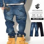 ロカウェア ジーンズ メンズ ブランド デニム ストレート リラックスフィット 大きいサイズ 黒 ダメージ ROCAWEAR R00J9911E 2017 秋冬 新作