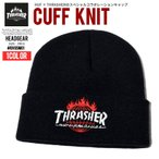 THRASHER × HUF スラッシャー × ハフ 限定コラボ ニットキャップ メンズ ニット帽 BN65M01 帽子 B系 ストリート系 スケーター ファッション