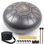 AKLOT スリットドラム Cメジャー タングドラム スチール製 瞑想・ヨガ・癒し・祈り・治法・疲労療 ケース付き 癒し系の音色 (10インチ)