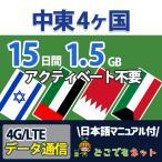 中東 プリペイド SIMカード 4G/LTE データ通信 4か国 1.5GB/15日 UAE バーレーン イスラエル クウェート 送料無料 即日発送 あすつく