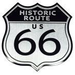 アルミ製 車 バイク エンブレム U.S. Route 66 ルート66 レトロ ステッカー シール
