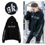 free/XXL(3L) 大きいサイズ有り 腕文字ロゴ フード  パーカー 長袖 トップス トレーナー  韓国ファッション  原宿系ファッション ストリート系