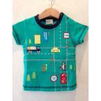 働く車 アップリケ 男の子 ベビー 赤ちゃん 80サイズ 半袖Tシャツ BAB CHIP グリーン パトカー 消防車 タンクローリー ロード柄