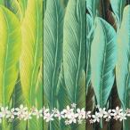 【トロピカルハワイアン】 T/Cアロハ プルメリア×バナナリーフ ポリエステル65% 綿35% 生地幅110cm ※50cm以上10cm単位。購入例・数量5=50cm
