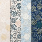 ninaシリーズ オックスプリントA柄 小花リーフドット ココ 綿100% 人気の北欧調 生地幅110cm ※50cm以上10cm単位の販売です。購入例・・数量5=50cm