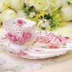 高級薔薇ティーカップ&プレートソーサー 薔薇のスプーン付き♪【GC-065】