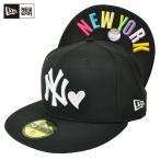 [OUTLET] DONOBAN 別注カラー 59FIFTY ニューヨーク・ヤンキース ハート ブラック×ホワイト ピンクハート NEWYORKマルチカラー