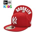 [OUTLET] キッズ キャップ NEW ERA Kid's 59FIFTY UNDERVISOR ニューヨーク・ヤンキース スカーレット × ホワイト BROOKLYN N0006321 帽子 アウトレット