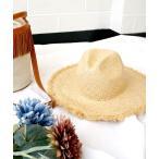 カンカン帽 ハット UV 帽子 中折れハット レディース つば広 ガーリー 日焼け対策 ブランド pyupyu ラフィア ワイドハット