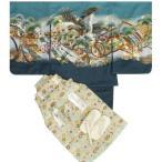七五三着物5歳 袴セット 鷹 ブルー羽織 紺地着物 松竹梅 ベージュ金襴袴 5歳用 12点セット 足袋付きセット