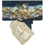 七五三 着物 男の子 羽織着物袴セット 紺 鷹 金屏風 ベージュ紋袴 5歳用  12点セット 足袋付きセット