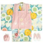 七五三 着物 3歳 女の子被布セット 式部浪漫ブランド 白色 赤雲取文様 被布ピンク 刺繍使い 亀甲 足袋付きセット
